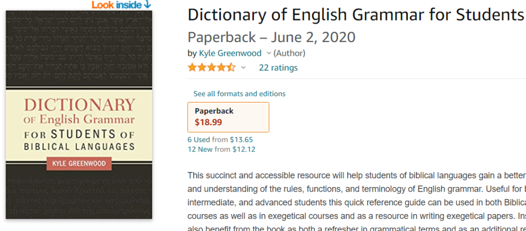 Dictionary of English Grammar for Students of Biblical Languages by Kyle Greenwood