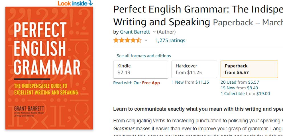 Perfect English Grammar by Grant Barrette