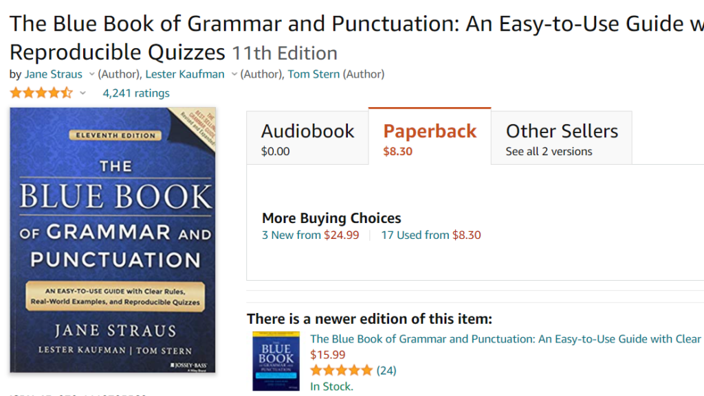 The Blue Book of Grammar and Punctuation by Jane Straus, Lester Kaufman and Tom Stern