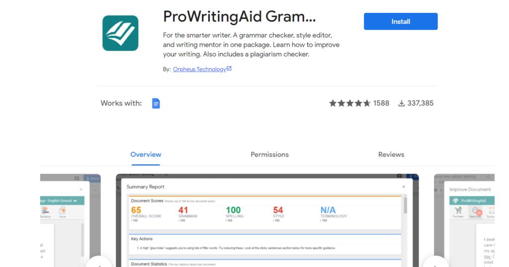Prowritingaid for google doc